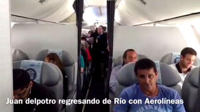 Volvió del Potro a Argentina y fue ovacionado hasta por el piloto del avión