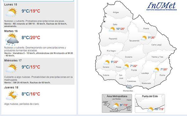 Este lunes y martes probables precipitaciones; las máximas alcanzarán 20°
