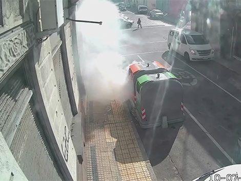 Cámaras captan incendios a contenedores: declara sospechoso
