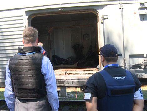 Víctimas del avión derribado fueron almacenadas en un tren