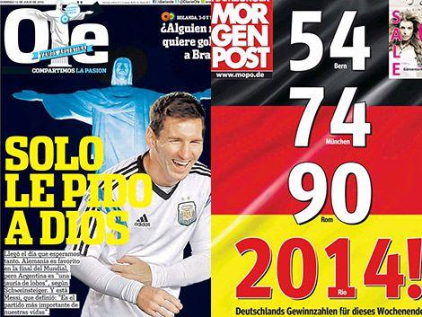Los diarios argentinos y alemanes sobre la final del Mundo