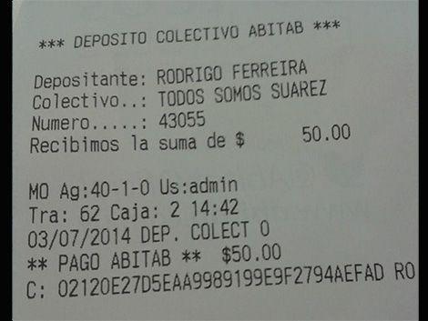 Recolectan dinero en Abitab para la multa que puso FIFA a Suárez