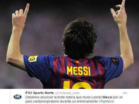 Twitter de Fox Sports anuncia por error la muerte de Messi