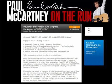 Paquetes VIP para ver a McCartney