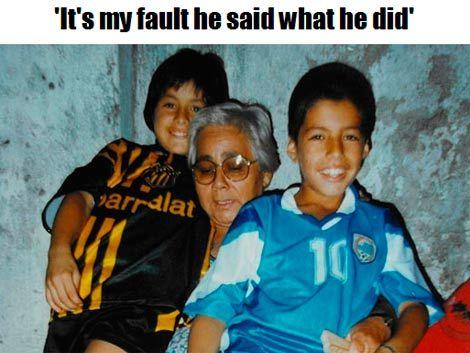 La abuela de Suárez se echó la culpa por los insultos a Evra