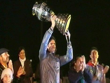 Los campeones Abreu y Tabárez recibieron sus homenajes