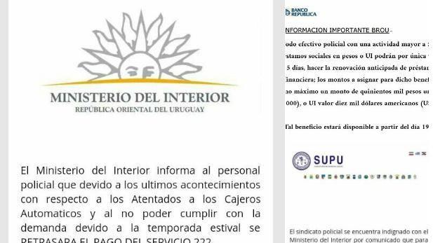 Ministerio del interior y brou alertan por difusi n de for Pago ministerio del interior