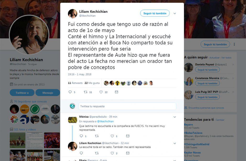 Liliam Kechichián se fue del acto del PIT-CNT molesta con uno de los oradores