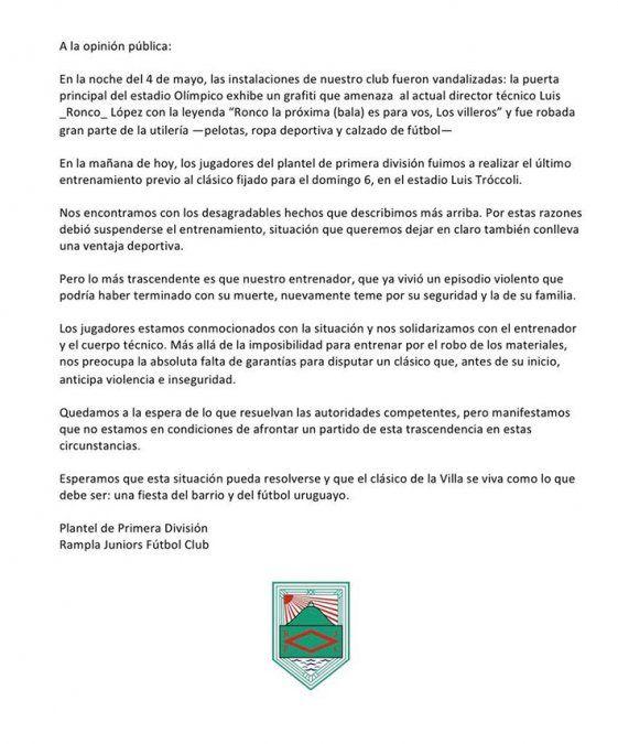 Amenazaron de muerte al Ronco López a pocas horas del clásico Rampla-Cerro