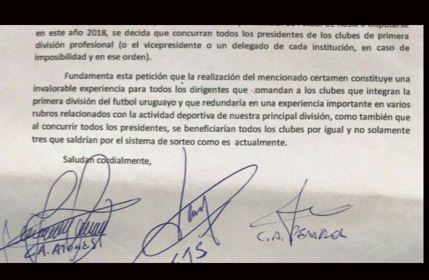 La petición por escrito que llegó al escritorio del presidente de AUF