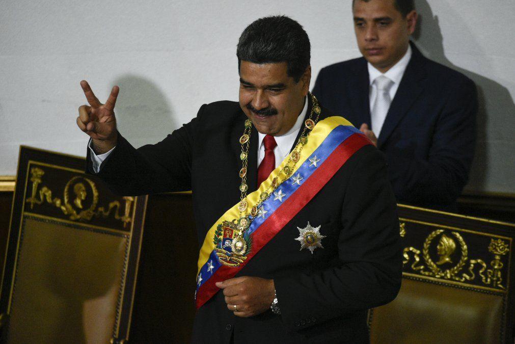 Nicolás Maduro tras su discurso de juramento para su segundo término como presidente de Venezuela.