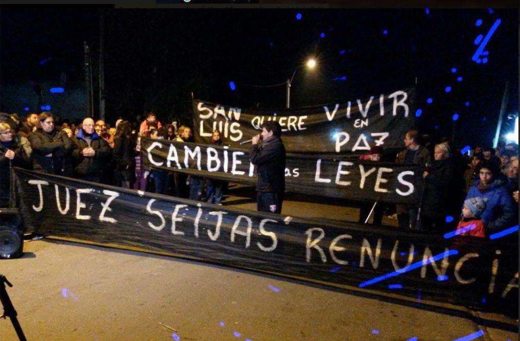 Manifestación contra juez Seijas por liberar a sospechosos de homicidio