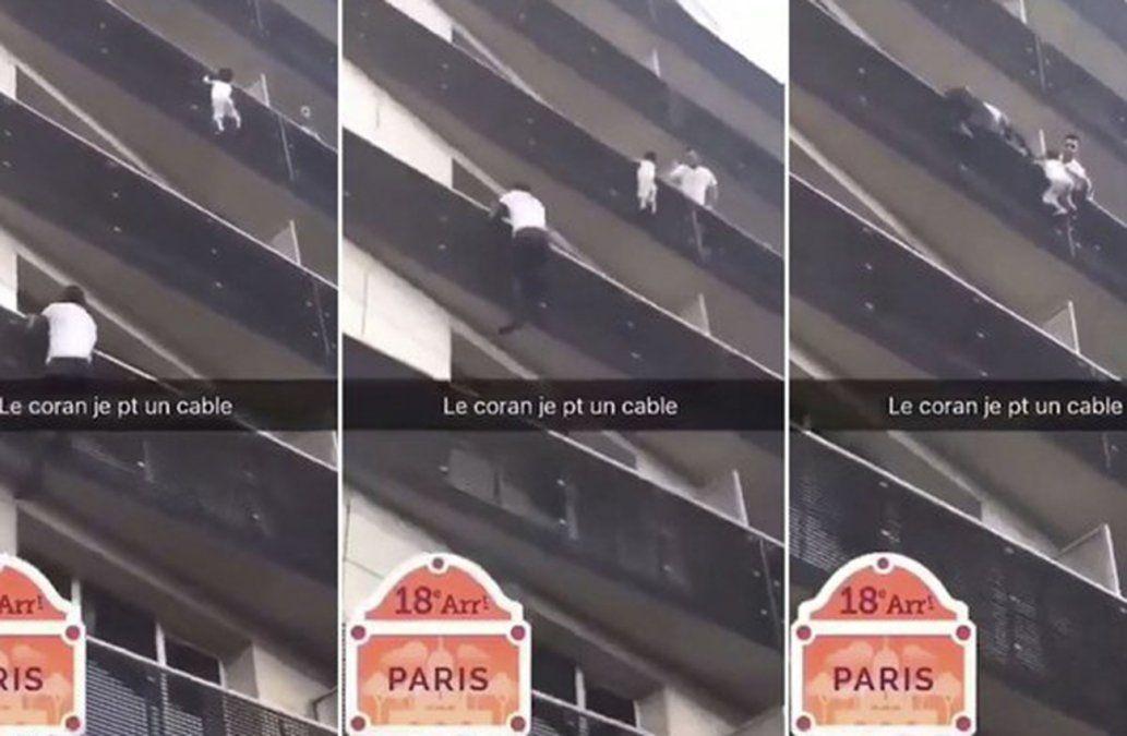 Trepó cuatro pisos y rescató a un niño que estaba por caer al vacío