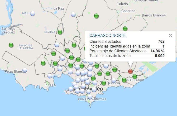 Corte de energía eléctrica en Carrasco Norte con casi 15% de hogares afectados
