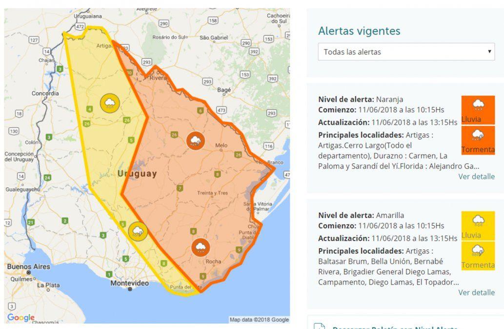Nueva advertencia naranja por tormentas fuertes y lluvias