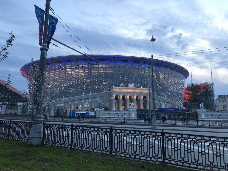 Así preparan al estadio de Ekaterimburgo para el debut de Uruguay frente a Egipto