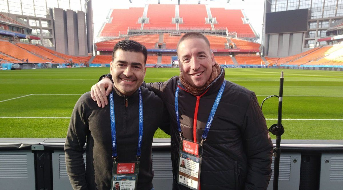 Mauro Mas y Rodrigo Romano en el estadio de Ekaterimburgo