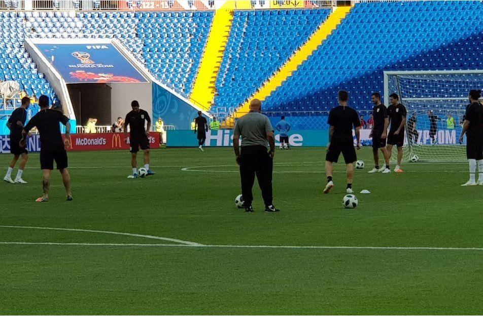 El plantel celeste realizó el último entrenamiento antes del partido contra Arabia Saudita
