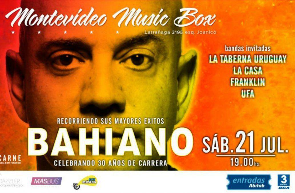 Bahiano celebra 30 años de carrera en Montevideo Music Box