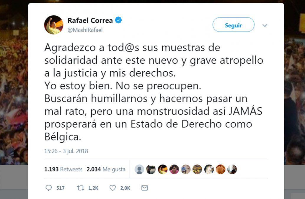 La reacción de Correa tras enterarse de la orden de prisión en su contra