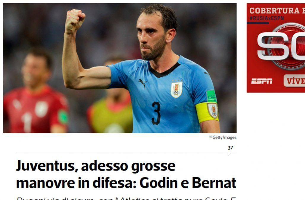Fútbol: Juventus quiere contratar a Diego Godín
