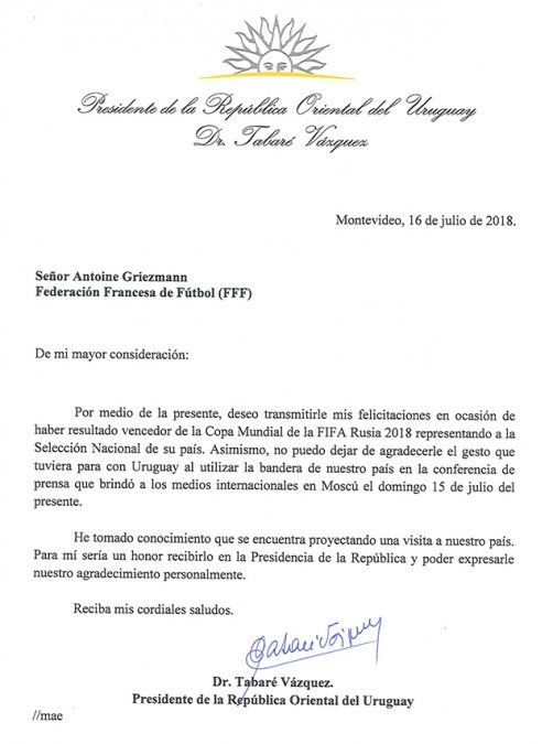 Vázquez felicitó a Francia por el mundial e invitó a Griezmann a una reunión en Presidencia