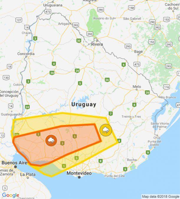 Advertencia naranja por tormentas fuertes para una zona del suroeste y centro del país