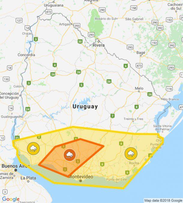 Nueva advertencia naranja por tormentas fuertes en el centro-sur del país