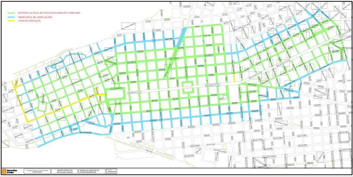 Extenderán estacionamiento tarifado a nuevas zonas del Cordón y Ciudad Vieja