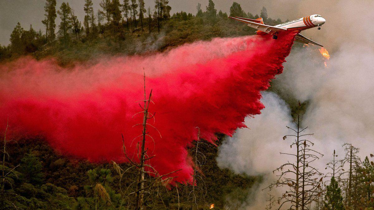 Un avión cisterna lucha contra el incendio cerca del Parque Nacional de Yosemite, California