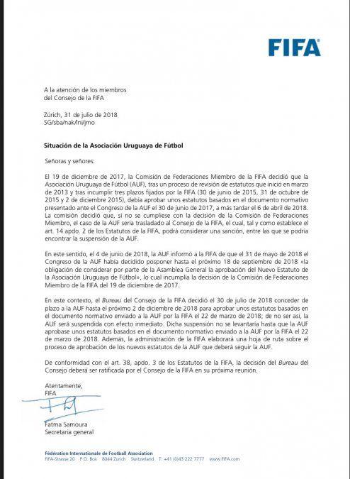 La AUF puede ser suspendida por la FIFA si no vota nuevo estatuto en diciembre