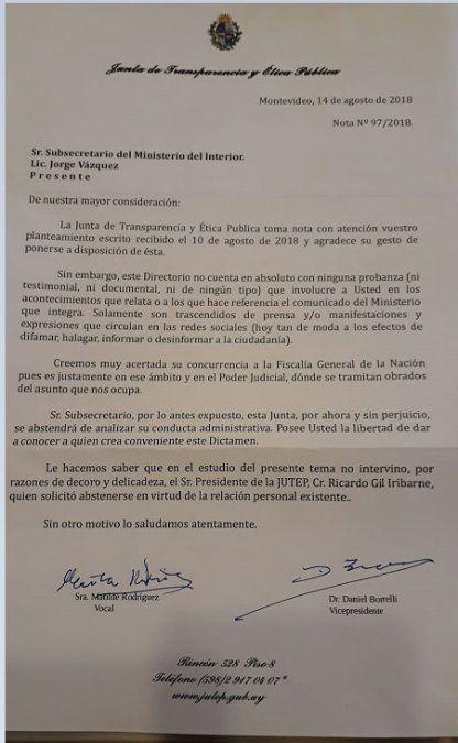 La JUTEP no halló razón para analizar conducta de Jorge Vázquez