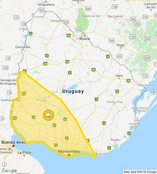 Alerta amarilla por tormentas fuertes para la zona suroeste
