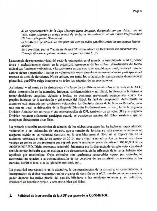 La carta enviada por los jugadores a la Conmebol pidiendo la intervención de la AUF