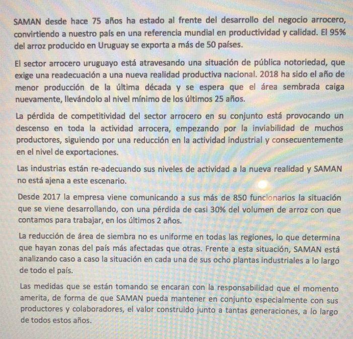 Cierra la planta de SAMAN en Río Branco y despiden a los trabajadores