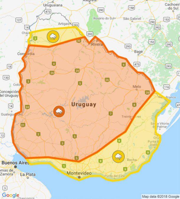 Doble alerta naranja y amarilla por tormentas fuertes en casi todo el país