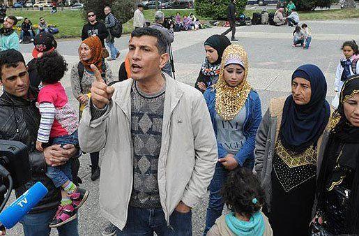 Sirios en la protesta frente a Torre Ejecutiva en 2015