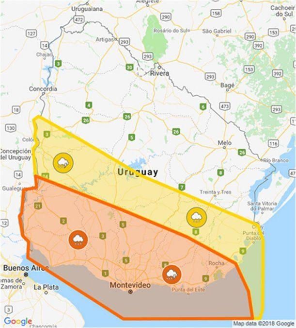 Actualizan doble alerta naranja y amarilla por tormentas fuertes y lluvias intensas