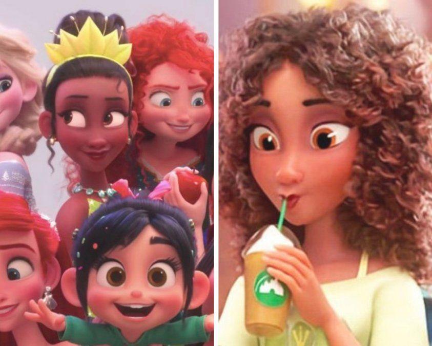 Izquierda: imagen de Tiana en La princesa y el sapo. Derecha: imagen en WiFI Ralph