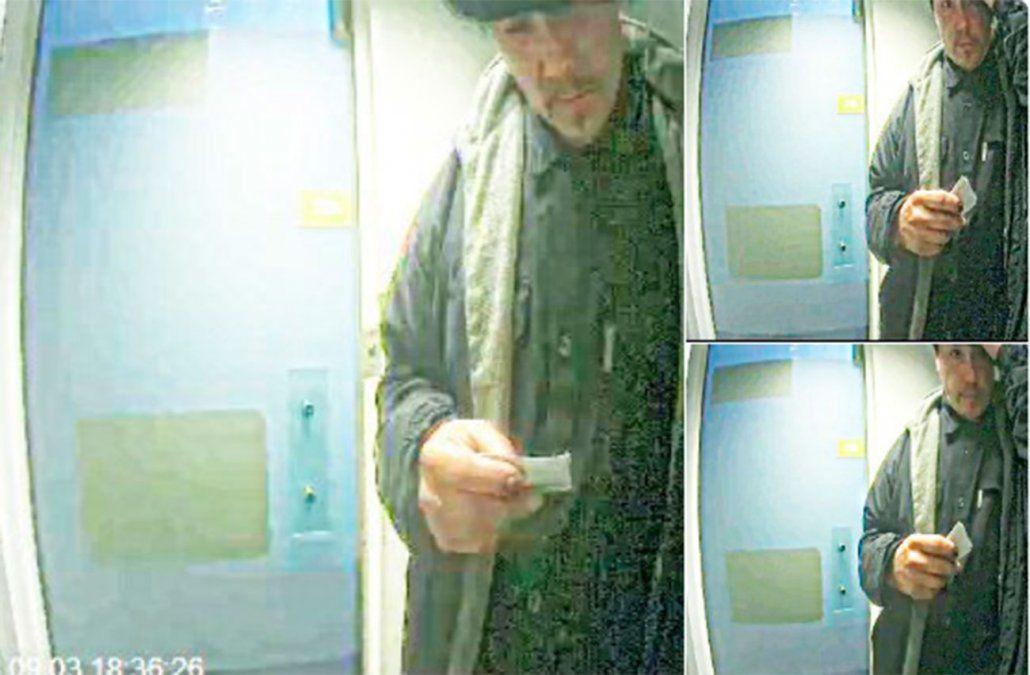 Difunden fotos de uno de los asaltantes a la remesa del banco Itaú frente al Palacio