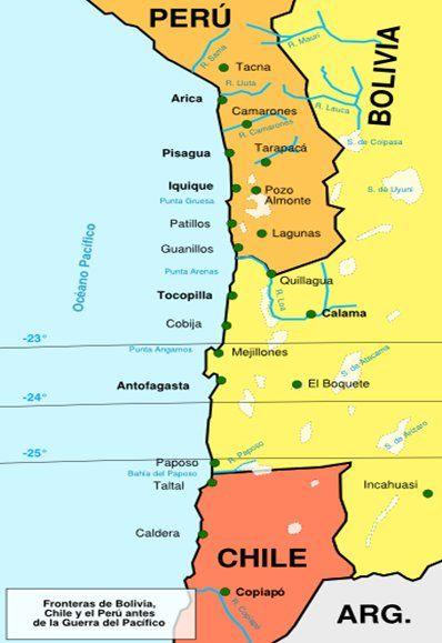 Así era el mapa del Pacífico dividido entre Chile