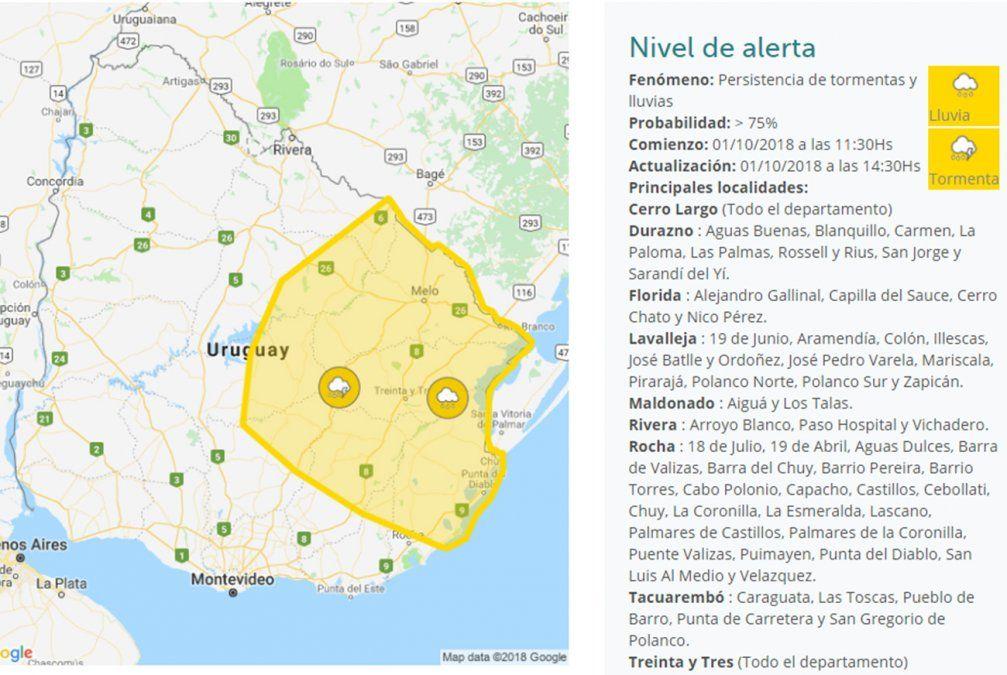 Nueva alerta amarilla por persistencia de tormentas y lluvias afecta a 9 departamentos