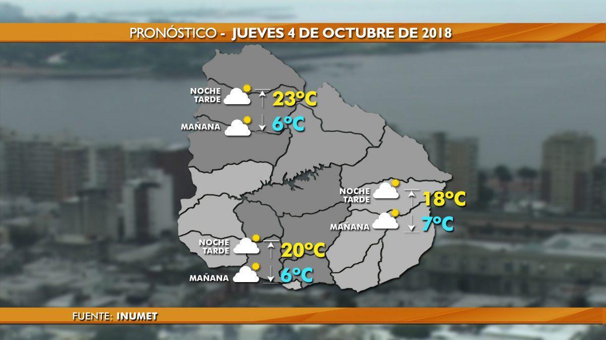 Buen tiempo este jueves con máxima de 18ºC en la capital y de 23ºC en el norte