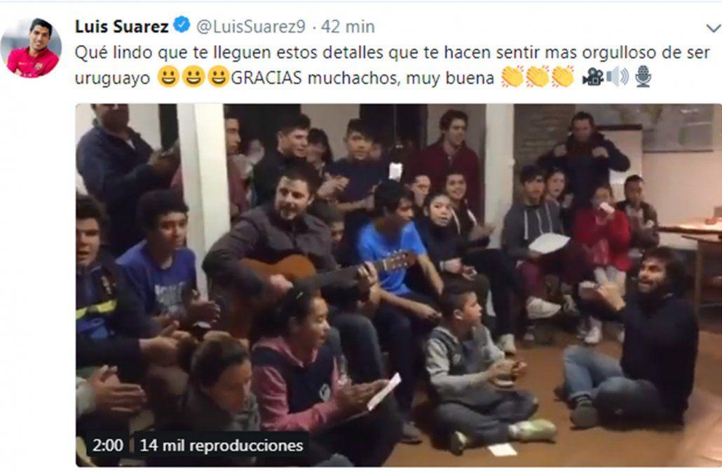 Luis Suárez orgulloso y agradecido por una canción homenaje