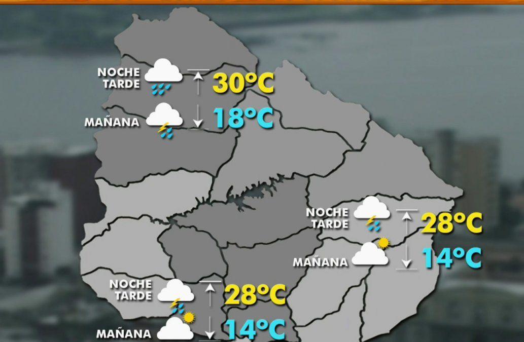 Lunes con máxima de 28ºC en la capital y hacia la tarde-noche tormentas