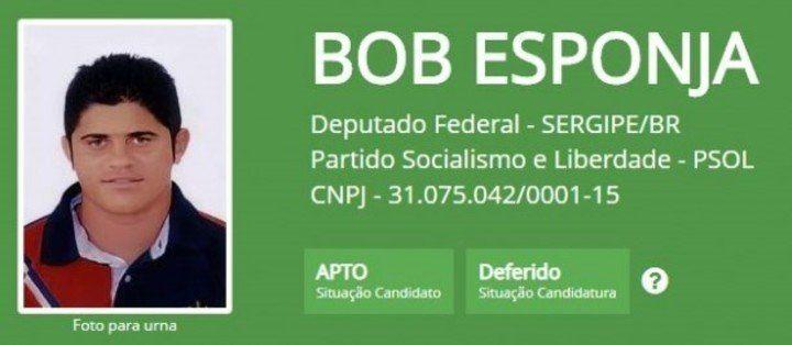Bob Esponja quería llegar a representar a Sergipe. Obtuvo 225 votos