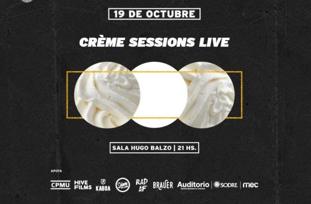 Este viernes, llega Crème Sessions a la Sala Hugo Balzo