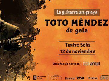 """Este 12 de noviembre llega al Teatro Solís """"Toto Méndez , de gala"""""""