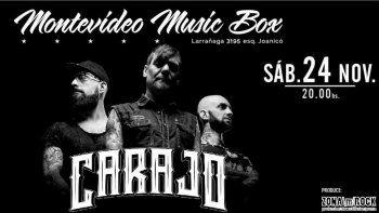 Carajo en Montevideo Music Box el sábado 24 de noviembre