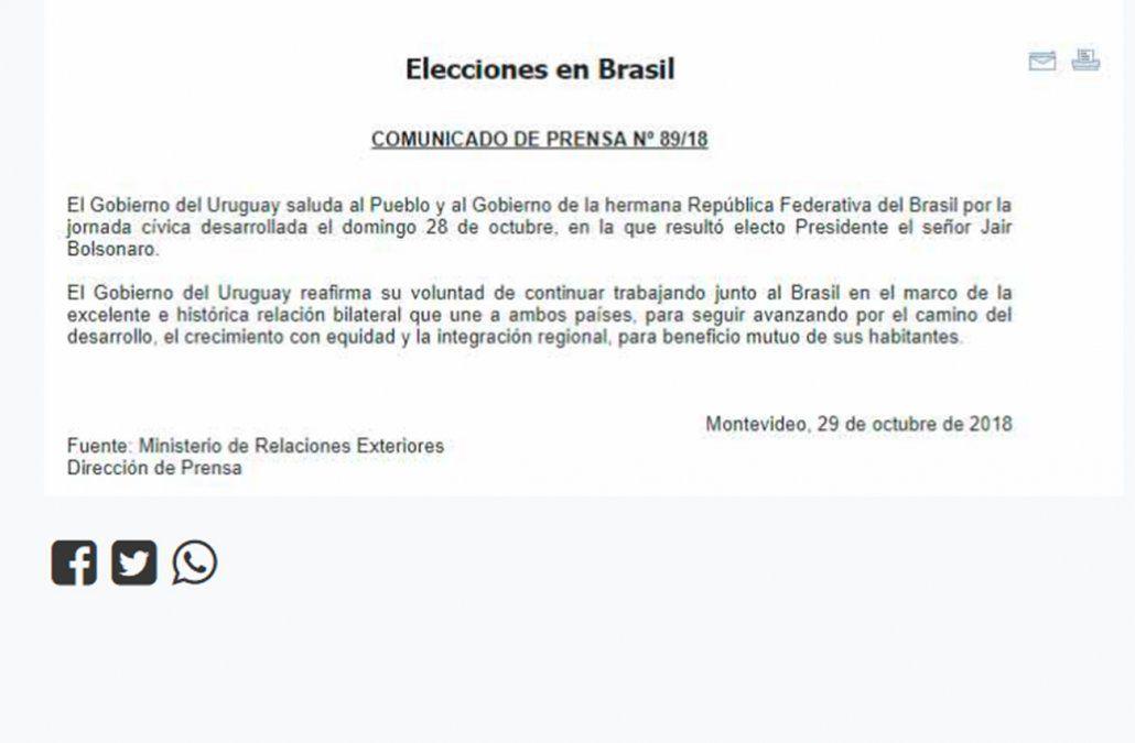 El comunicado de la diplomacia uruguaya sobre las elecciones en Brasil